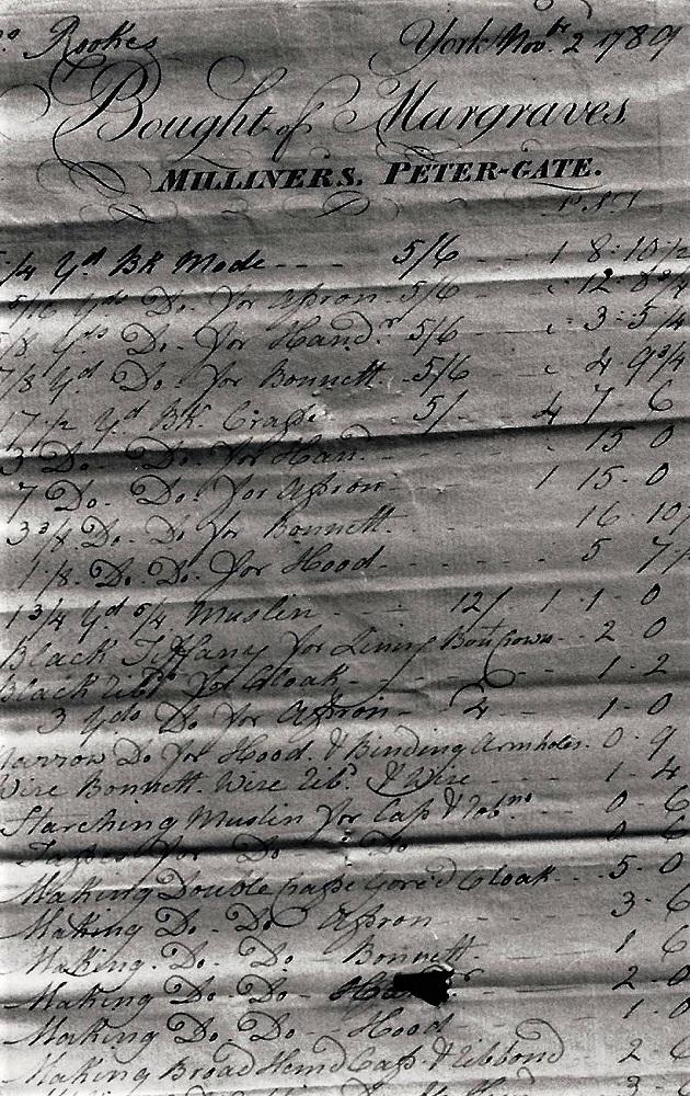 Clothes Bill - 1769