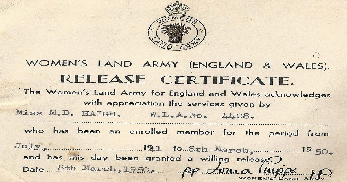 Land Army Release Certificate 1950
